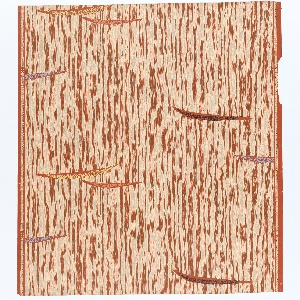 """Irregular off-white stripes running vertically on red ground, interrupted by floating pointed varicolored shapes. On left margin: """"Marburg-Tapete Made in Western Germany"""", on right: """"Entwurf Elsbeth Kupferoth 139"""". Straight repeat, drop match."""