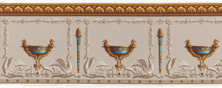 Empire-style frieze. Pale gray ground with affronted grisaille swans amidst foliage, represented as if in relief. At top, border, illusionistically shaded border simulating architectural ornament, in ochers and yellow, of stylized, simplified acanthus leaves. Frieze dominated by bright blue cylix-shaped vases with ocher and yellow ornament which alternate, between grisaille swans, with blue, yellow and ocher flambeau. At bottom, medium gray band with darker gray five-pointed stars.