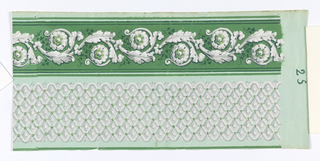 Design consists of two bands of varied patterns. The upper band a rinceau with floral medallions and vine tendrils; stripes mark the upper and lower boundaries. The lower band contains a lattice-like pattern of undulating lines with three petals in each outer bay; printed in greens, grays, and white on a polished pastel green ground.