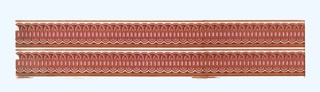 Passementerie border in imitation of fancy gimp. Upper and lower arches with central band. Printed in pink on white ground. Printed two across.  H#46