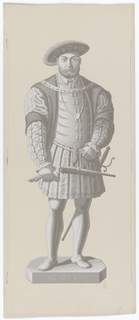 Series of eight panels, each with British ruler, full length, in grisaille. Henry VIII, reigned 1509-47.