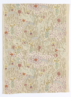 All-over dense floral and foliage pattern, with large-scale Queen Anne's lace. Printed in colors on an off-white ground.