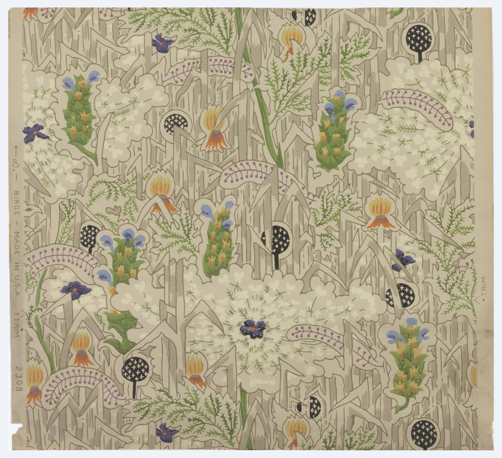 All-over dense floral and foliage pattern, with large-scale Queen Anne's lace. Printed in colors on a tan ground. Pattern #2308.