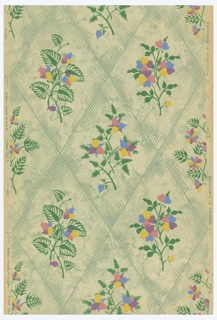 Diamond trellis pattern. A large floral bouquet is enframed in each diamond. Printed in polychrome with green trellis on mottled green ground. Pattern #3924.