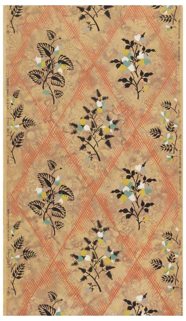 Diamond trellis pattern.  A large floral bouquet is enframed in each diamond. Printed in polychrome with orange trellis on mottled tan ground. Pattern #3924