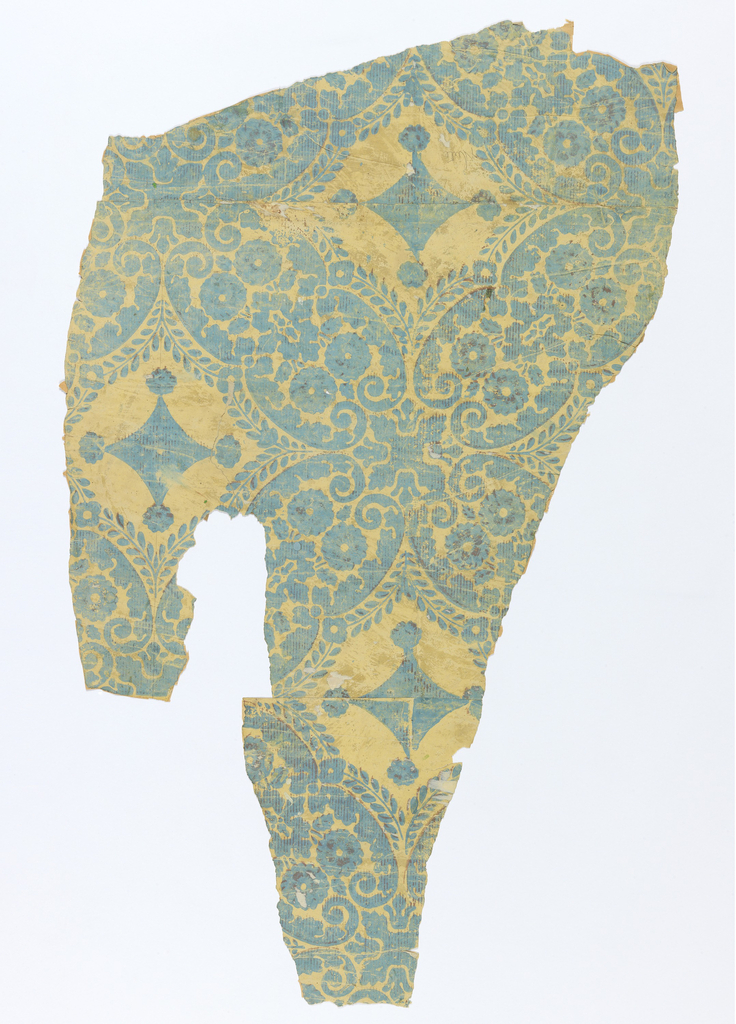 "Original document for ""Diamond Damask"". Blue diamonds in floral framework with brown striped overprinting. Printed on yellow ground."