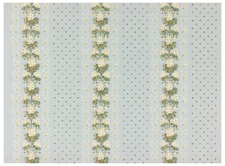 Three floral bands, alternating with bands of spotted background.  Printed in polychrome on light blue ground.