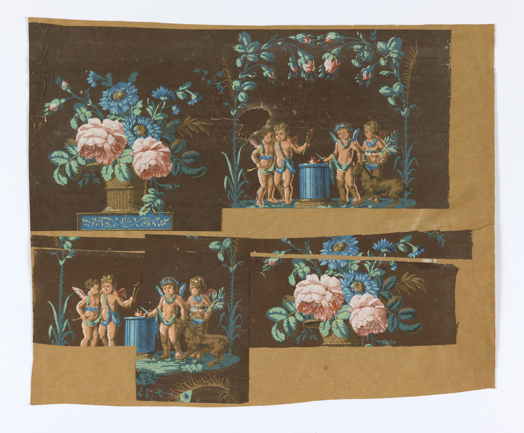 Floral bouquet in a basket with arching peacock feathers, alternating with four putti and a goat surround a burning alter. Painted in polychrome on a deep brown ground.