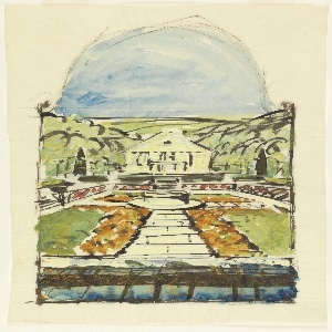 Perspective view of house in center rear in front of which is a sunken garden with central raised basin with path in four directions. Creating four separate beds of grass bordered by flowers above lunette representing sky.