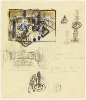 View of garden plan with a sculptural fountain at center surrounded by arched trellises. Upper right, four fountain sketches; center left, sketch of fountain with enclosing walls; center right, text in graphite; lower margin, figure stepping towards fountain, a cube to the right.