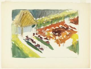 Very painterly sketch of a garden with paths and floral beds bound at rear by domed gazebo attached to arbor.