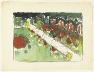 Very painterly sketch of a garden with path cutting across from lower right to upper left. Arbor running diagonally across upper right corner bounds garden's right side.