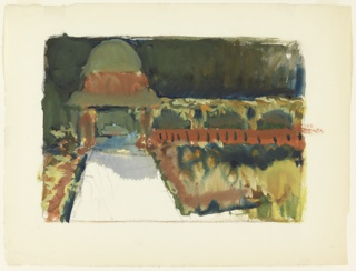 Rough painterly sketch of garden with path at left leading at the rear to domed gazebo attached to an arbor.