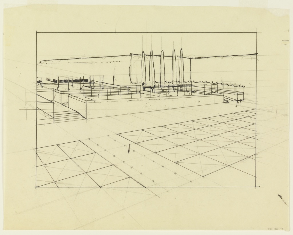 Garden is viewed on the diagonal receding from right foreground to upper left. Lower plaza shows two partially visible beds marked into square sections and divided by a path leading to garden's upper level. Upper plaza shows five tall evergreens and additional beds. Graphite perspective underdrawing extends outside border of drawing into the margins.