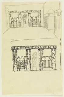 At top, wall decorated with columned portico. Sculpture in central bay, trellis in two side bays. At right, buildings with central arched opening. At bottom, more detailed version of above design.