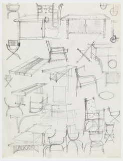 Multiple design sketches for chairs and tables.