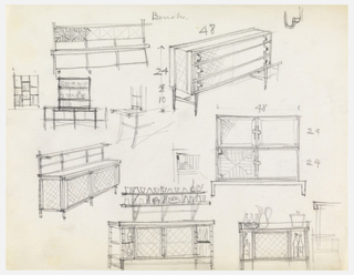 Twelve cabinet and bench designs with scale.