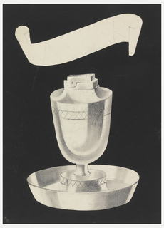 "Design for cigarette lighter with decorative band of cross-hatching below rim and on base above attached plate; ashtray in form of cup in round dish with flaring sides; ""ASR"" [client's initials?] faintly in graphite in banderole top center; decorative band of cross hatching below rim of lighter and at lighter base above attached plate."