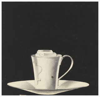 Cup-shaped holder with flared rim and curved handle at right, attached to wide shallow dish; half-view at left of decorative engraved escutcheon on cup body.