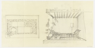 Elevation and plan of furnished lounge room for Willow & Reed.