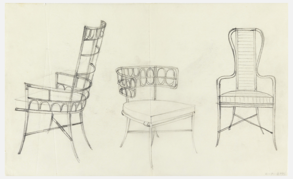 Design for three chairs: trellis-style chair with high back, chair with curved horizontal back with ovals, and chair with high back and curved arms.