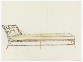 Design for chaise longue with wooden or bamboo structure, banded joints.