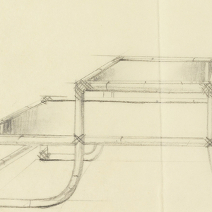 Design for 2-level 3-shelved table with wood or bamboo structure.