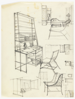 Design for desk with shelves and chair.
