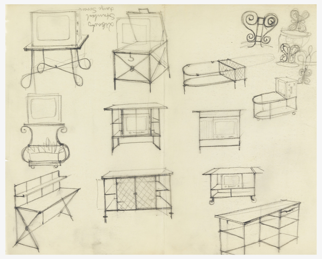 6 designs for television carts.