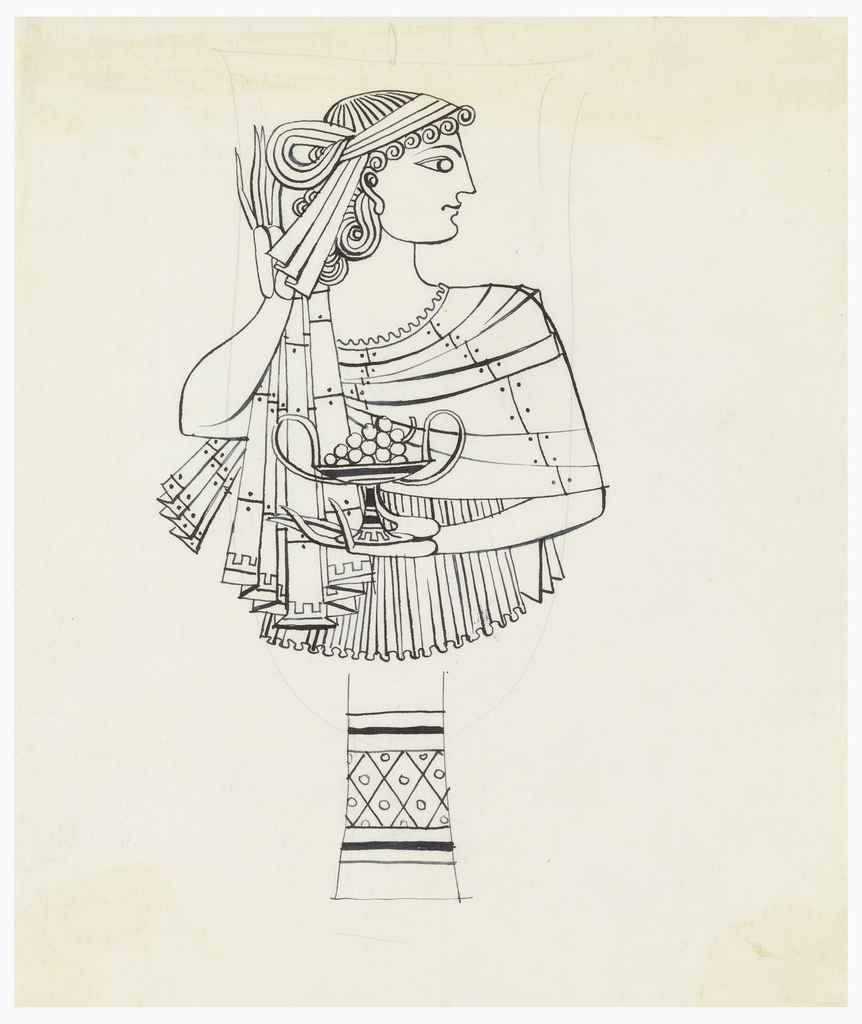 Drawing, Design for a Silver Goblet:  Woman in Greek Costume Holding Kantharos