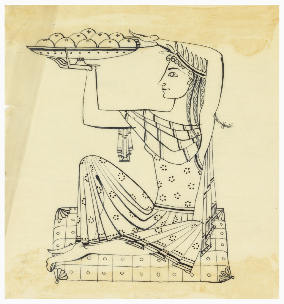 Seated woman holding platter with fruit.
