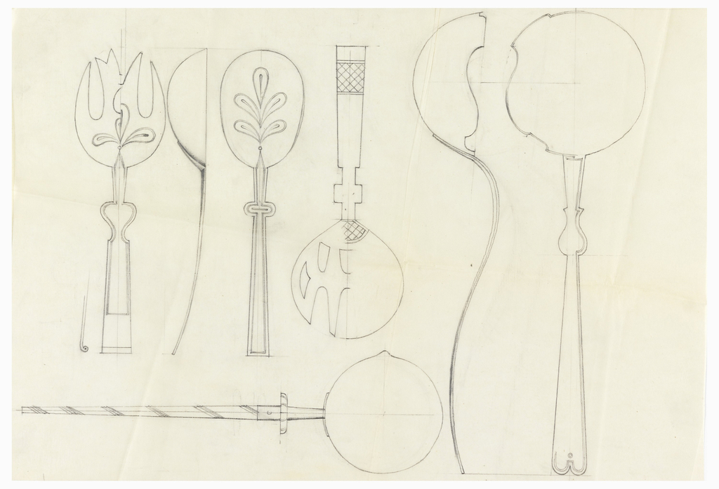 7 designs for serving spoons and forks, two with leaf motif.
