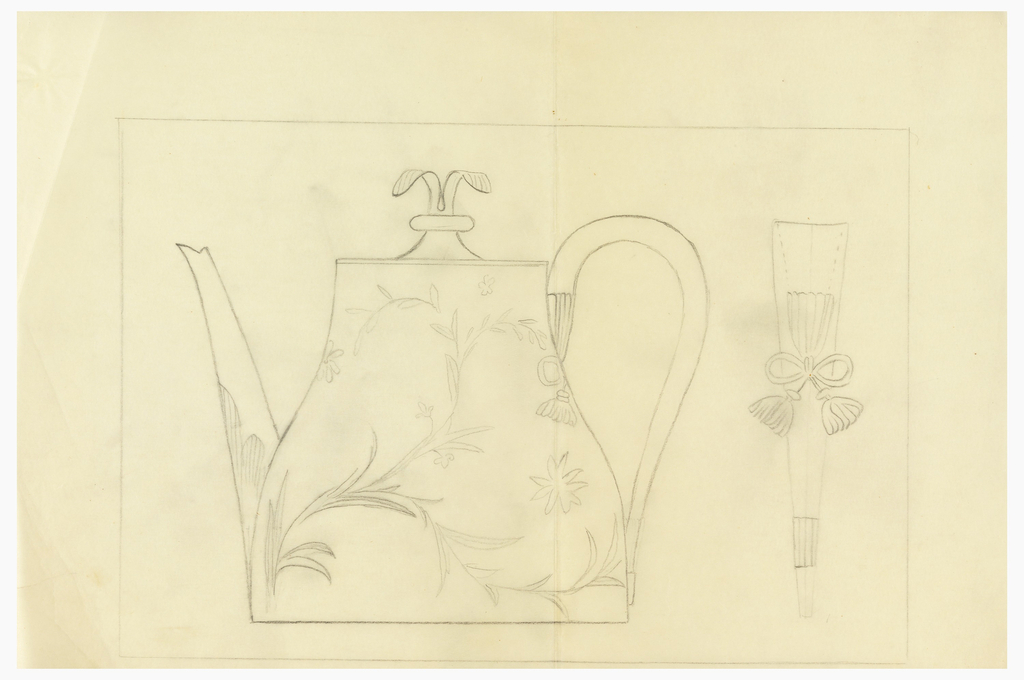 Design for tea pot with view at right of handle.