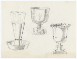 3 designs for goblet-shaped cigarette holders.