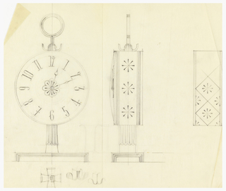 Front and side view of round clock.