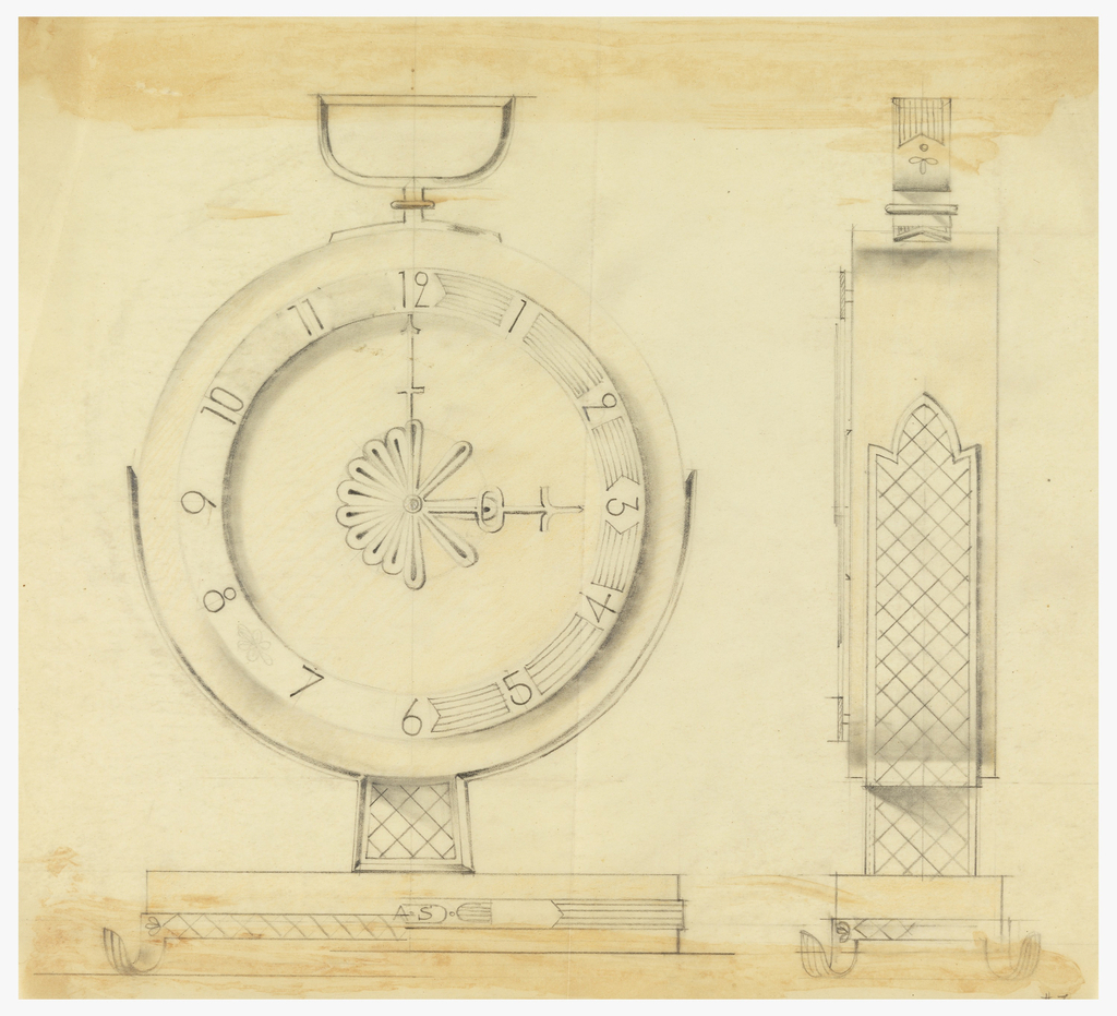 Front and profile view of clock.
