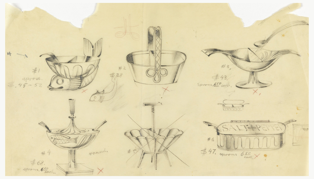 """First design is numbered #1 / $.45-52: fish with bowl and ladle; second design is #2 / $38: basket with trefoil; third design is #3 / $43 / Spoons 6.50 each: footed bowl with bird-like form and small spoon; lower section has the fourth design #4 / #68 / spoons. 6.50 each: footed and stemmed bowl with fish, scalloped lid and fork; """"round""""; fifth drawing is a scalloped bowl with four legs, it has been crossed out; final drawing is reminiscent of a sardine can with the words: SALT PEPPER / #6 / $47. Spoons 6.50 each."""