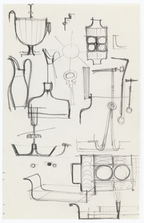 Page of tableware designs including tray, pitcher, footed bowl.
