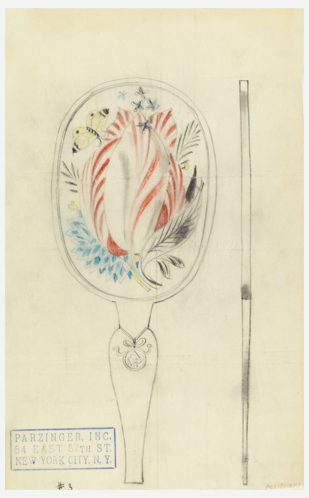 Design for back of hand mirror with red and blue floral motif and yellow butterfly. Handle contains initials: A / MP.