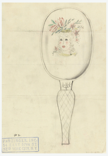 Hand mirror features head of a woman wearing floral headdress. Initials A.M.P.