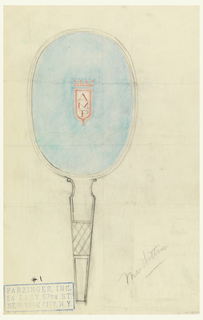 "Design for hand mirror inscribed bottom right ""Mrs. Watson""; hand mirror in blue with initials: A / M / P in red."