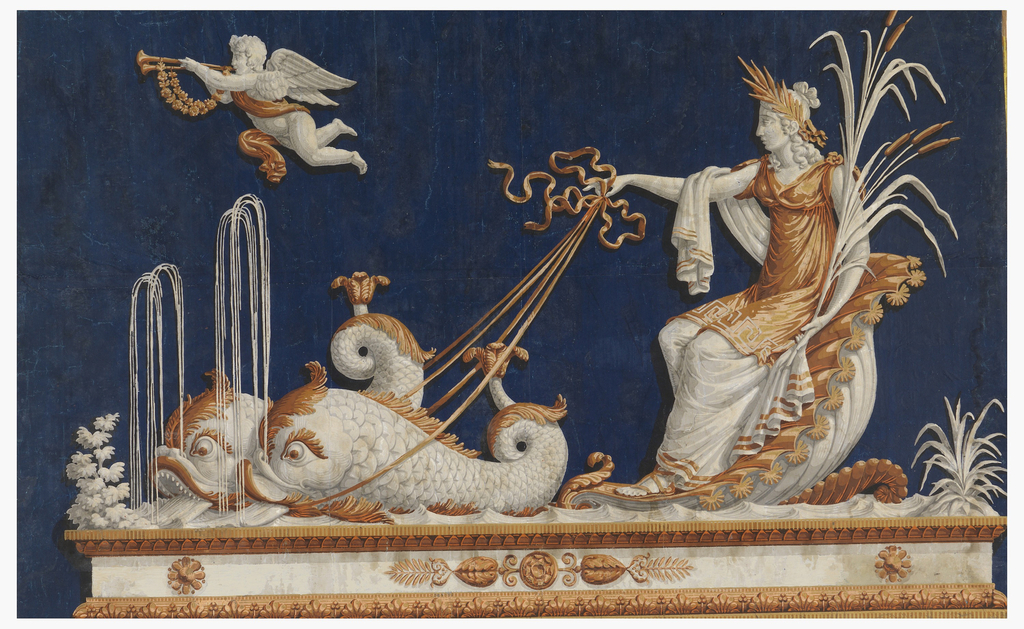 Goddess of classical antiquity, holding cattails in left hand, seated in a shell drawn by two dolphins which spout water. Above, a cupid with a double horn, heralding the approach of the goddess. The figures are most likely Venus in the shell-carriage and her son Cupid. Printed in golden yellow and white on a dark blue ground. Horizontal rectangle.