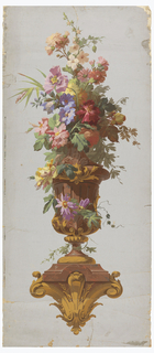 On gray ground, large marble urn with brass mounts on marble and brass bracket. Urn filled with various summer flowers in pastel shades, including full-blown roses; b) Matching urn with similar flowers.