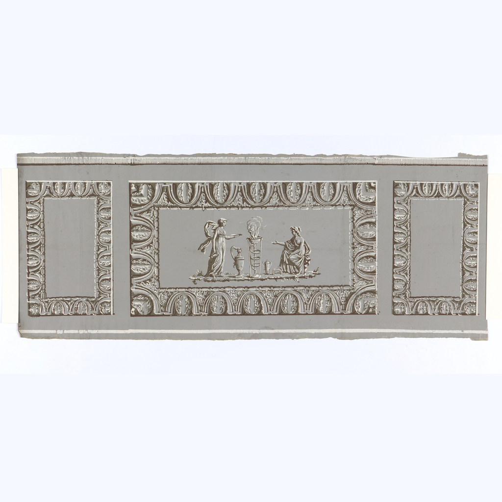 Grisaille with brown alternating panels.  Larger horizontal panels with 2 classical draped figures flanking tripod.  H# 631