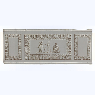 Grisaille with brown alternating panels.  Larger horizontal panels with 2 classical draped figures flanking tripod.