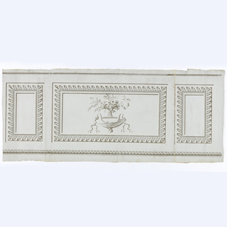 "Inset panel dado on robin's egg blue ground alternating large horizontal rectangle panels and smaller vertical rectangle.  Panels outlined in foliate ""molding"" and beading.  Row of beading top, foliate bottom, shades of gray-brown.  Central motif of flowers in urn in dish with snake handles.