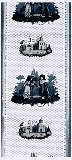 Alternating vignettes, children playing and a village scene, between vertical decorative borders, all in blues and white against a light blue background.