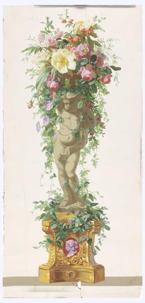 Statue of an infant supporting a basket of flowers with burgundy and lavendar cameo in base. Putti is facing left, standing on a vine-covered pedestal. Gold highlights. Printed on white ground.