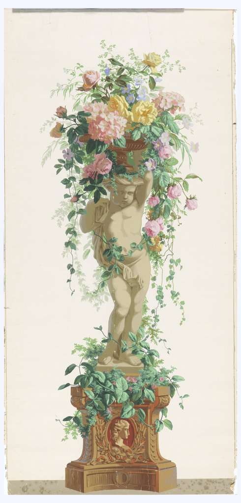 Statue of an infant, standing on vine-covered pedestal with a burgundy and tan cameo in base. Putti is facing right, supporting a basket of vining flowers. Printed on white ground.