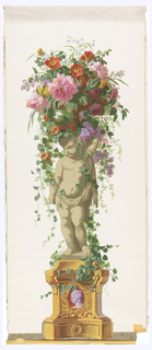 Statue of an infant, standing on vine-covered pedestal with a burgundy and lavender cameo in base. Putti is facing left, supporting a basket of vining flowers. Printed on white ground.